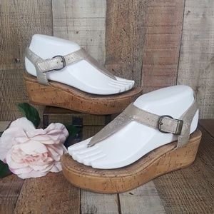 7 For All Mankind Wedge Sandals, Sz 7